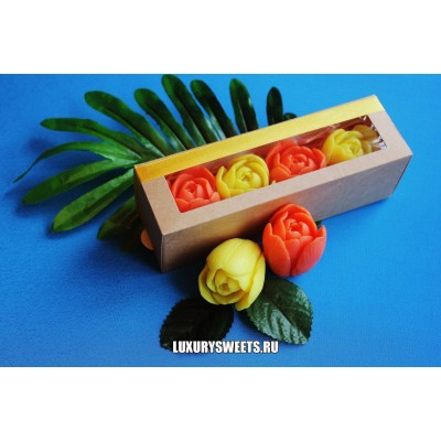 Мыло ручной работы Тюльпаны в коробочке