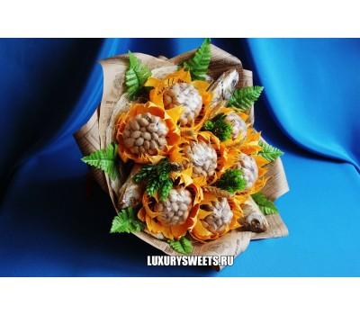 Мужской букет-закуска из вяленой рыбы и фисташек Позитив