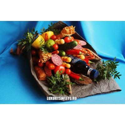 Мужской букет-закуска из колбасы и овощей  Арт! Хозяюшка