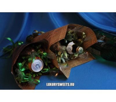 Мужской букет-закуска из вяленой рыбы и напитка Провокация на бис