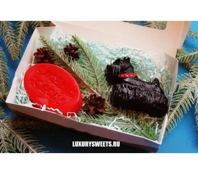 Мыло ручной работы Набор в коробочке Терьер чёрный