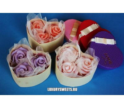 Мыло ручной работы Розы с любовью в коробочке