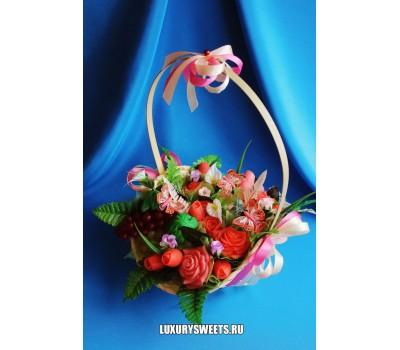 Корзина из мыла ручной работы Розовые розы 6