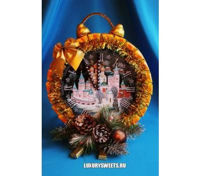 Композиция из конфет Часики новогодние 2 (двухсторонние)