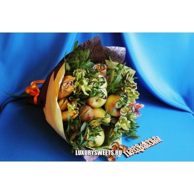 Букет из фруктов и цветов Тропические бабочки