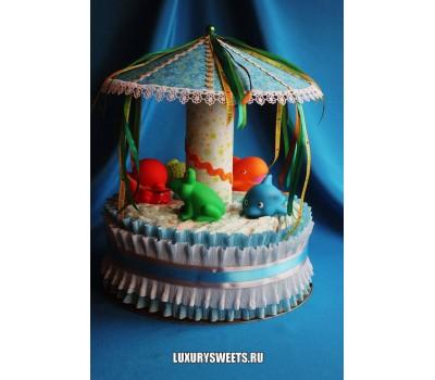 Торт из памперсов Весёлая карусель 3