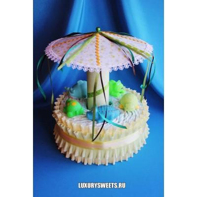 Торт из памперсов Весёлая карусель 4