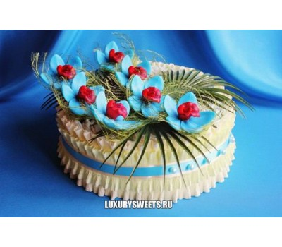Торт из памперсов Нежная орхидея небесная