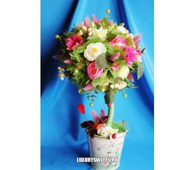 Топиарий из цветов Нежная камелия 2