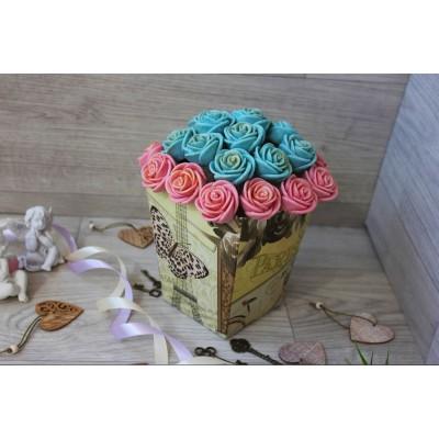 Композиция из шоколадных роз Джульетта 23шт (РГ)