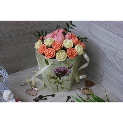 Композиция из шоколадных роз Джульетта Винтаж 23шт (БР)