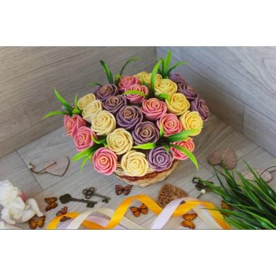 Корзина из шоколадных роз Милена 33шт (РБС)