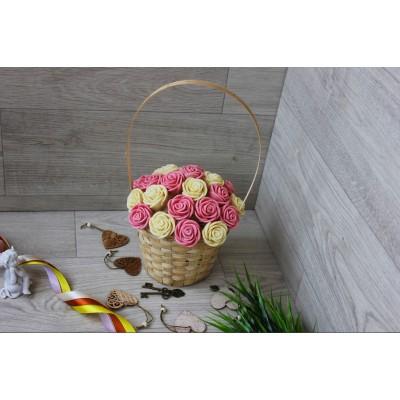 Корзина из шоколадных роз Новелла 21шт (БР)