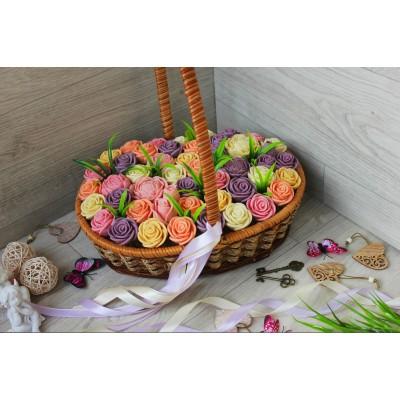 Корзина из шоколадных роз Новелла Винтаж 47шт (БПРС)