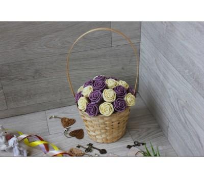 Корзина из шоколадных роз Новелла 21шт (БС)