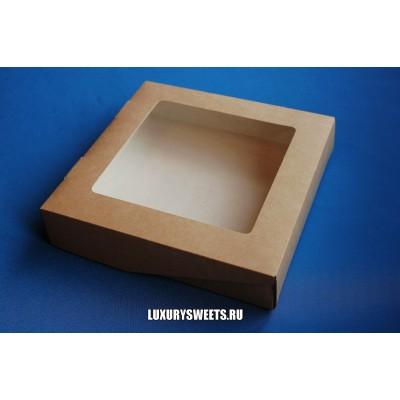 Коробка картонная с прозрачной крышкой 4*20*20 см